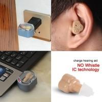 USB Recharge New Hearing Aid Alat Bantu Dengar Telinga ITE + Stand Cas
