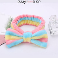 RFS - Cute Bow Ribbon Headband Hairband Bandana Bando - Dark BluePinkYe