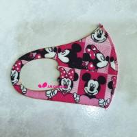 Masker Anak Scuba Motif Minnie Mouse Pink Printing / Masker Anak Scuba