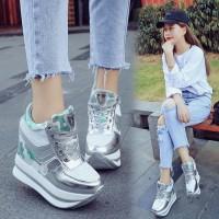 PROMO Wanita Sepatu Sneakers Wedges Platform 6cm Casual Bahan