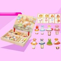 Mainan Puzzle Kayu Magnetik Multifungsi Gambar Kartun untuk Anak
