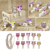 TOP Lovely Owl Wooden Craft Clip Photo Paper Peg