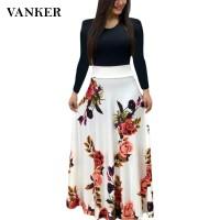Long Dress Wanita Lengan Panjang Model Boho Motif Print Bunga untuk