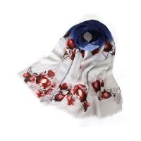 Pashmina Hijab Wanita Model Lipit Motif Print Bunga Warna Gradasi Baha