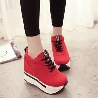 PROMO Sepatu Wanita Sneakers Wedges Platform 5cm Bahan Kanvas