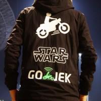 Jaket HOODiE JUMPER Sweater Distro STAR WARS + GOJEK polos custom ojol