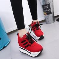 PROMO Sepatu Sneakers Wedges Platform 5cm Bahan Kanvas Gaya Korea