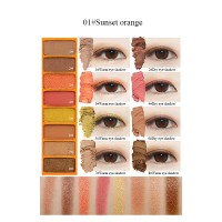 Eyeshadow 8 Warna Shimmer Peach Powder Ukuran 9.6g Untuk Kosmetik