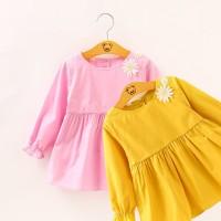 Dress Polos Lengan Panjang Bunga Dengan Sayap Bidadari Anak