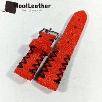 Tali strap jam tangan asli kulit ikan pari duri warna Merah Cerah