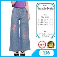 Celana Kulot Anak Usia 6-12 Tahun Bahan Jeans Motif Bordir Cantik