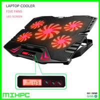 Cooling Pad Laptop 5 Fan Pendingin Laptop Stand Meja Cooler - Merah