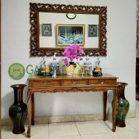 Set Meja Rias Ruang Tamu / Meja Konsul dan Cermin Dinding Klasik Jati