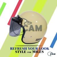 Helm SNI Bogo list krem + kaca datar flat bukan cargloss