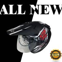 Helm Motor SNI 2 kaca KNC trail cross Rush black doff red bukan jpx