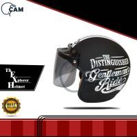 Helm Bogo Gentleman black doff + kaca datar flat Busa Bisa di lepas