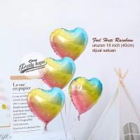 balon foil hati rainbow pastel / balon bentuk hati / balon foil love