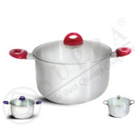 SUPRA Aluko Soup Pot Glass Lid 28 cm | Panci Tutup Kaca Alumunium