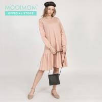 MOOIMOM Side Zip with Rample Maternity & Nursing Dress - Baju Hamil &