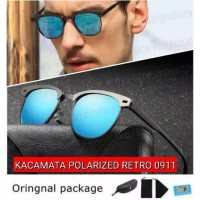 kacamata hitam pria wanita original polarized UV400 classic 0911 Biru