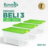 Rovega Kotak Kontainer Plastik Premium dengan 4 Roda 60 Liter 3in1