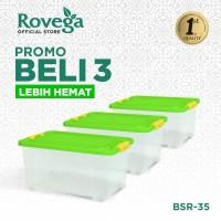 Spesial Bundle 3in1 Rovega Kontainer Plastik Premium 35L dengan 4 roda