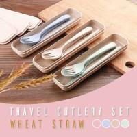 Alat makan set sendok garpu sumpit wheat straw / alat makan anak set