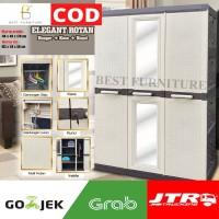 Best Akako Lemari Plastik 3 Pintu ELEGANT Gantung Baju + Kaca 105x170