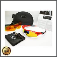Kacamata sepeda Radar Lock frame merah fire 5 lensa - sunglasses