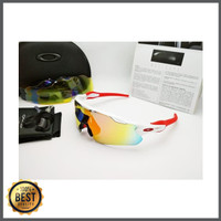 Kacamata Oakley Radar Ev putih merah 5 lensa - kacamata sepeda disko