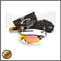 Kacamata sepeda Radar Lock hitam lis putih 5 lensa - sunglasses disko