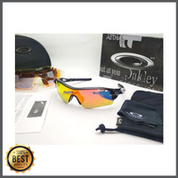 Kacamata Oakley Radar Lock hitam lis putih 5 lensa - kacamata sepeda