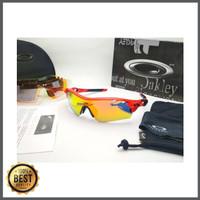 Kacamata sepeda Radar Lock merah fire 5 lensa - sunglasses diskon