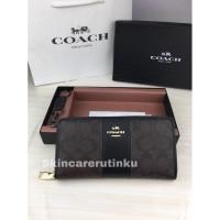 Coach Accordion Zip Wallet Brown Black - ORIGINAL GUARANTEE 100%