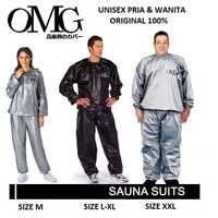 Baju Sauna Suit OMG Jaket Celana Olah Raga Pria Wanita Best Quality - Hitam, M