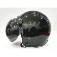 Helm Retro List Chrome HKM Black Glossy List Silver - L