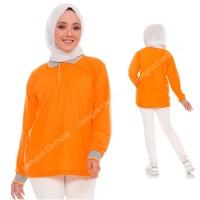 Kaos Polo Panjang OREN KERAH ABU / Kaos Kerah Panjang OREN KERAH ABU - Oren Kerah Abu, S