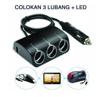 Charger Mobil Colokan USB dan 3 Soket Lighter Warna Hitam / Putih