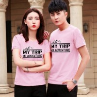 KAOS COUPLE MY ADVENTURE I BAJU COUPLE PINK