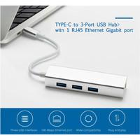 Kabel Converter Adaptor 4 in 1 Type C to LAN/RJ45/3x USB 3.0