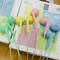 HEADSET STEREO U19 MACARON HANDSFREE EXTRA BASS EARPHONE U19 - Putih