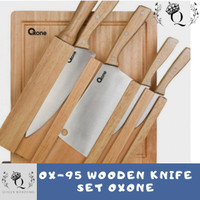 OX-95 Wooden Knife Set Oxone Pisau Kayu Murah Kumplit Anti Karat Tajam