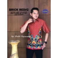 Kemeja Batik Pria Dewasa BRICK RED #2 Lengan PENDEK By RAJA SAKTI