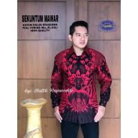 Kemeja Batik Pria Dewasa SEKUNTUM MAWAR Lengan Panjang By RAJA SAKTI