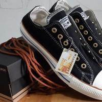Converse Premium Hitam Tali Coklat Sepatu Pria Wanita
