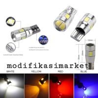 LAMPU LED MOBIL TIPE CANBUS T10 COB 5630 5730 5 MATA SMD LENSA PROJI
