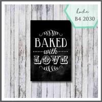 pajangan dinding poster kayu ukuran 20x30cm baked with love bw