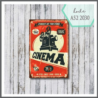 pajangan dinding vintage poster kayu 20x30cm cinema jadul