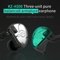 Knowledge Zenith KZ AS06 In Ear Earphone with MIC 3 BA Driver t