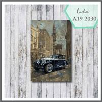 walldecor vintage poster kayu pajangan dinding blue vintage car